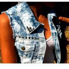 studded denim vest. Want one so bad... Anyone know a good place to scoop one up?!