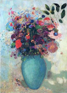 Flowers in a Turquoise Vase - Odilon Redon, c. 1912
