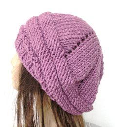 Hand Knit Hat  chunky knit Beehive beret in  Purple   by Ebruk, $30.00