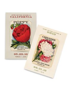 Find vintage illustrated seed packets for the state flower of where you're getting married and fashion into save-the-dates
