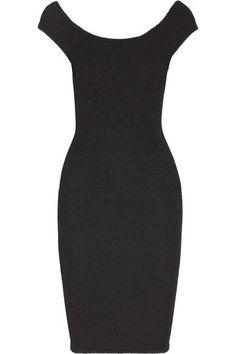 HUNZA G - Grace Off-the-shoulder Stretch-seersucker Dress - Black