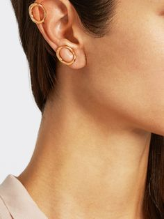 Naho gold-plated clip-on earrings   Charlotte Chesnais   MATCHESFASHION.COM