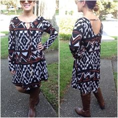 SALEAztec print dresses - gorgeous Please DO NOT purchase this listing. Comment with size and I will create a listing for you.                 Long sleeve Aztec print knit Indian style dress - FULLY LINED❗️100%poly - Price is firm unless bundled. Dresses