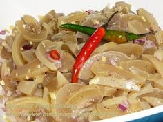 would like to share another Ilocano exotic food, the Caliente. Caliente is made up of cow or carabao skin boiled for several hours till tender and chewable. Filipino Dishes, Filipino Recipes, Filipino Food, Shrimp Salad, Pasta Salad, Pinakbet Recipe, Sisig, Fish And Meat, Exotic Food