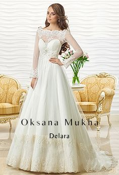 """Wedding Dress """"DELARA"""" by Oksana Mukha is available at Bridal Allure . Bridal Collection, Dress Collection, Classic Wedding Dress, Wedding Dresses, Satin Duchesse, Corset, Marie Laporte, Lace Dress With Sleeves, Skinny"""