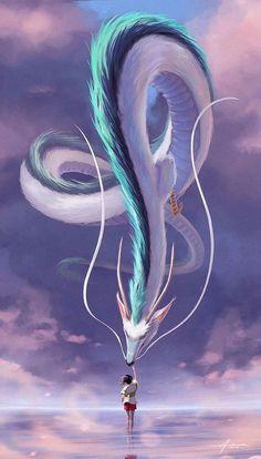 Art Studio Ghibli, Japon Illustration, Digital Illustration, Creative Illustration, Chihiro Y Haku, Fantasy Kunst, Mythical Creatures Art, Hayao Miyazaki, Anime Scenery