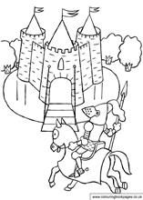 A colouring sheet of a knight on his way back to the castle