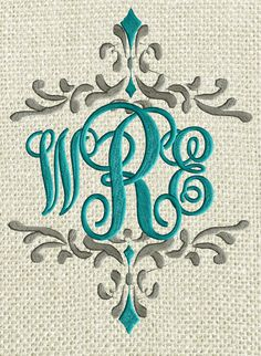 SCRIPTY MONOGRAM FONT Embroidery Design File with capital letters in 2 sizes and single color. 26 Capital Letters included, all perfectly designed to