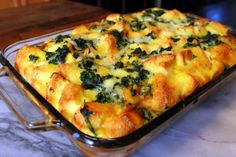 Make-ahead Spinach and Cheese Strata - this recipe comes from a fantastic cook - Kevin Lee Jacobs. His lemon blueberry cake is delish!