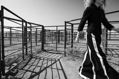 Black and White Fashion Photograph Julia Hafstrom in Marfa Corral Photograph : Thom Jackson