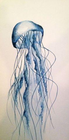 GEMACHT Reihenfolge Qualle Aquarell Original von RENEEWLEVINFineArt