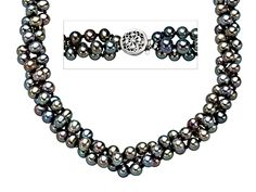 18-inch Triple Strand 4.5mm Grey Pearl Necklace with Sterling Silver Clasp