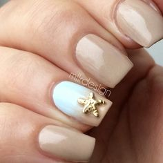 Beige and Sky Blue Ombre Nails With Gold Starfish
