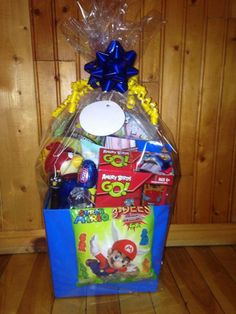 Mario basket spencer pinterest easter and easter baskets boys mario and angry bird easter basket wrapped negle Image collections