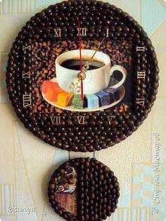 Декор предметов 8 марта День учителя Декупаж Продолжаю творить  И снова часы   Гуашь Диски виниловые Кофе фото 1