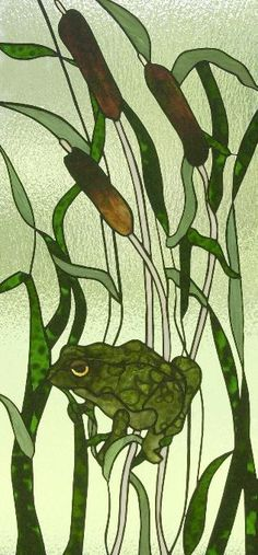 Frog Gymnastics - this is a vertical panel with frog on a stem