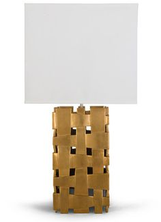 """Make a dramatic statement with this cut-out square contemporary styled table lamp featuring a spectacular hand carved """"weave"""" pattern ."""