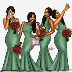 This fun photo shows the ideal bridal party. We need all these girls!!! tag your girls #nigerianwedding #bellanaijaweddings #bridetobe #bridesmaids #wedding #weddinginspiration http://gelinshop.com/ipost/1523219741400718121/?code=BUjkEjRDVsp