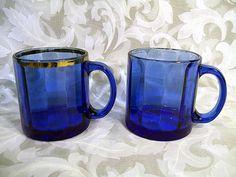 $1.99 SET OF 2 COBALT BLUE GLASS MUGS CUPS MADE IN USA
