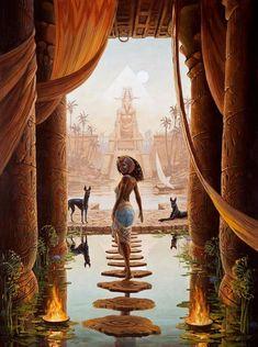 Egyptian prosper-/ ancient egypt/ queen/ sphinx/ pharaoh/ steps to another world/ pool/ dogs/ - Photo Black Girl Art, Black Women Art, Black Art, Egyptian Mythology, Egyptian Goddess, Isis Goddess, African Goddess, Egyptian Pyramid, Black Goddess
