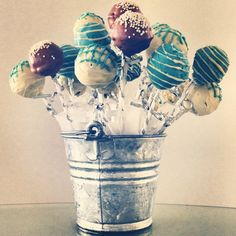 Baby shower boy cake pops. - I have the cake pop pans.  I can bring them.