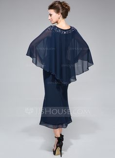 Trumpet/Mermaid V-neck Tea-Length Chiffon Mother of the Bride Dress With Beading Sequins (008042889)
