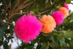 Orange and Pink MiniPom Garland  Reserved by TiTisTuTus on Etsy, $12.50