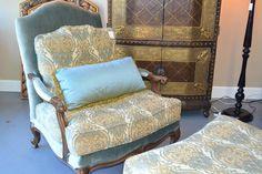 Multi fabric bergere chair