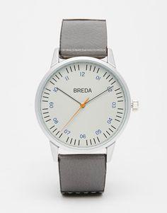 Breda Rothko Leather Watch In Grey/Black