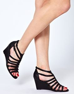 Enlarge New Look Roman Gladiator Black Wedge Sandals