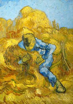 Vincent Van Gogh The Sheaf-Binder (after Millet) hand painted oil painting reproduction on canvas by artist Art Van, Van Gogh Art, Vincent Van Gogh, Van Gogh Museum, Claude Monet, Desenhos Van Gogh, Van Gogh Paintings, Dutch Artists, Renoir