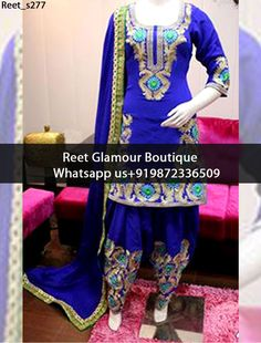 Sparkling Royal Blue Heavy Embroidered Punjabi Suit Product Code : Reet_s277 To Order, Call/Whats app On +919872336509 We Offer Huge Variety Of Punjabi Suits, Anarkali Suits, Lehenga Choli, Bridal Suits,Sari, Gowns Etc .We Can Also Design Any Suit Of Your Own Design And Any Color Combination.