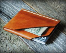 Custom Leather Wallet Minimalist Wallet by SandSLeatherCraft