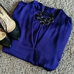 Long sleeve blouse Bright purple, silky feeling, long sleeve blouse. Hi-lo top. Great for business / business casual work too! Apt. 9 Tops Blouses