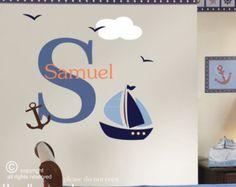 Custom name Nautical Wall decal, sailing wall decal, sailboat wall decal, nautical decal