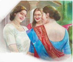 Indian Women Painting, Indian Art Paintings, Old Paintings, Sexy Painting, Painting Of Girl, Figure Painting, Drawing Pictures, Pictures To Draw, Cartoon Girl Drawing