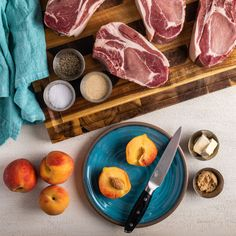 Ingredients for Easy Grilled Pork Chops and Peaches Peach Pork Chops, Juicy Pork Chops, Grilled Pork Chops, All You Need Is, Grilled Peaches, Grilled Vegetables, Side Salad, The Dish, Tasty Dishes