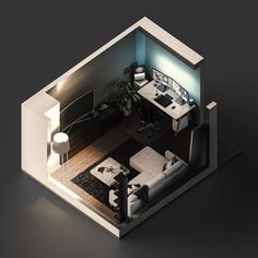 Used as a tool for self-teaching, this project was a six-month exploration of modeling, lighting, and rendering my apartment's living room/workspace isometrically within Maxon's Cinema Gaming Desk Setup, Design 3d, Bedroom Setup, Video Game Rooms, Isometric Design, Home Office Setup, Game Room Design, Gamer Room, Studio Room