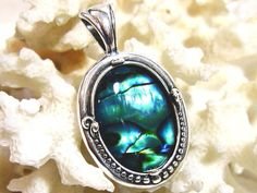 """18x13 Blue Abalone Pendant Solid 925 Sterling Silver with 18"""" chain by JewelrybyPatterson on Etsy"""