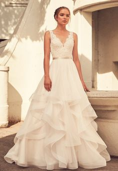 Lace V-neck Natural Waist Tulle Skirt Ball Gown by Paloma Blanca - Image 1