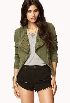 Military-Inspired Spiked Denim Jacket | FOREVER21 - 2073526446