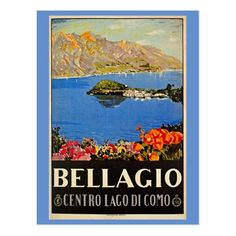 'Italy Bellagio Lake Como vintage Italian travel advert' Sticker by aapshop Retro Poster, Poster S, Poster Vintage, Vintage Travel Posters, Poster Prints, Art Prints, Tourism Poster, Art Posters, Vintage Art