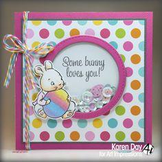 Art Impressions Rubber Stamps: Ai Easter: Hoppy Easter Set (Sku#4754) ... handmade shaker card. clear stamp set, bunny, rabbit, sequins, twine
