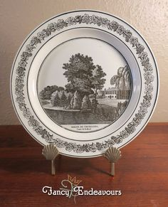 Antique Creil French Creamware Plate of English Scene Chicksands Priory Bedford #Creil