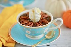 Enjoy a Microwave Mug Pecan Pie made and ready in minutes! You'll love the sweet flavor of maple syrup and satisfying crunch of toasted pecans.