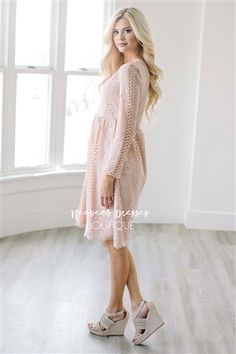 Beautiful Soft Pink Lace Modest Dress Bridesmaids Dress, Church Dresses, dresses for church, modest bridesmaids dresses, trendy modest dresses, modest womens clothing, affordable boutique dresses, cute modest dresses