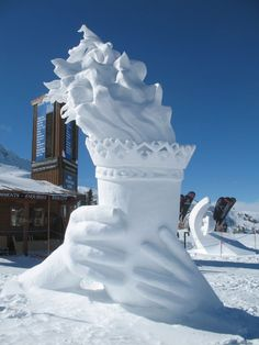 Maybe not quite this fancy, but you could get the kids outside to make their own winter Olympics themed snow statue. #OlympicsAdventures