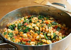 This Moroccan Sweet Potato Spinach and Cauliflower Curry is an exotic feast for the senses with the colorful vegetables and spicy aromatic Ras El Hanout. Vegetarian Entrees, Vegetarian Cooking, Allergy Free Recipes, New Recipes, Cauliflower Rice Curry, Colorful Vegetables, Asian Vegetables, Steamed Sweet Potato, Moroccan Spices