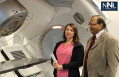 Radiation therapist Susan Sloan and Dr. Sunil Gulavita, Head and Coordinator of Radiation Oncology, Regional Cancer Care Northwest, with one...