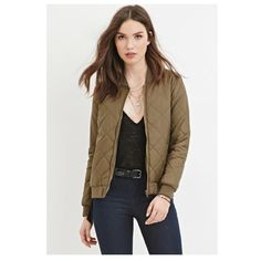 Olive Green Bomber Jacket Cute Light bomber jacket Forever 21 Jackets & Coats Puffers